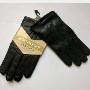 Isotoner Black Leather Gloves Cashmere Lined New!